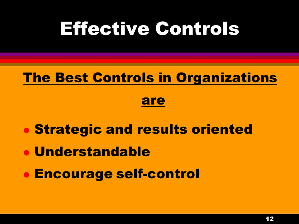 Effective Controls The Best Controls in Organizations are
