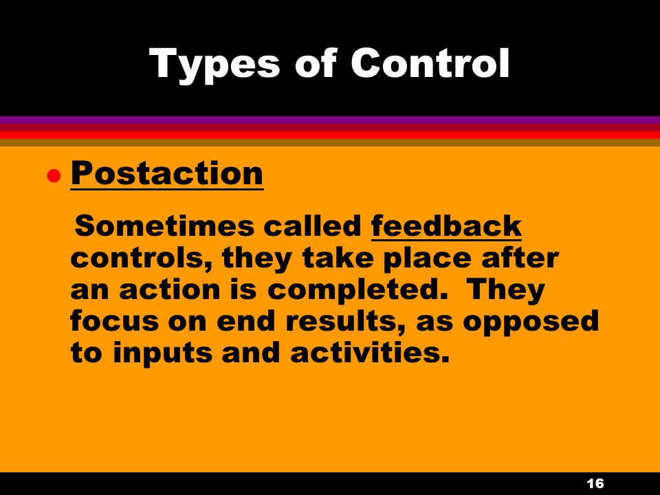 Types of Control Postaction