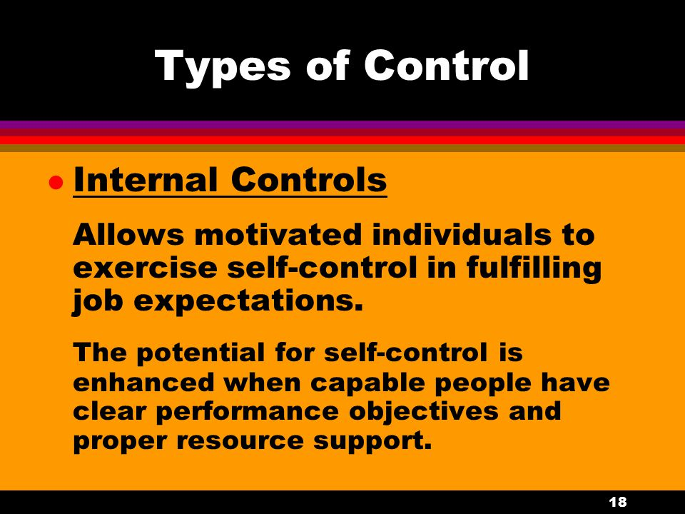 Types of Control Internal Controls