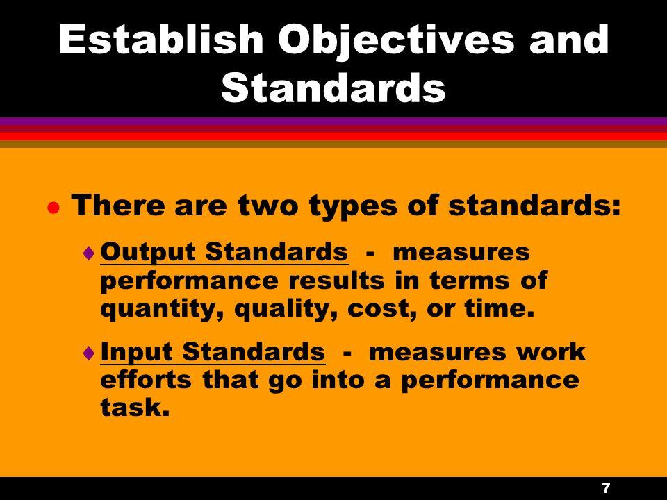 Establish Objectives and Standards