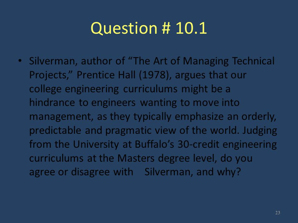 Question # 10.1