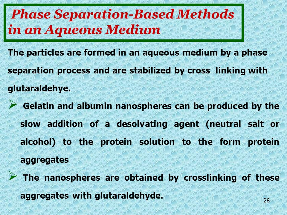 Phase Separation-Based Methods in an Aqueous Medium