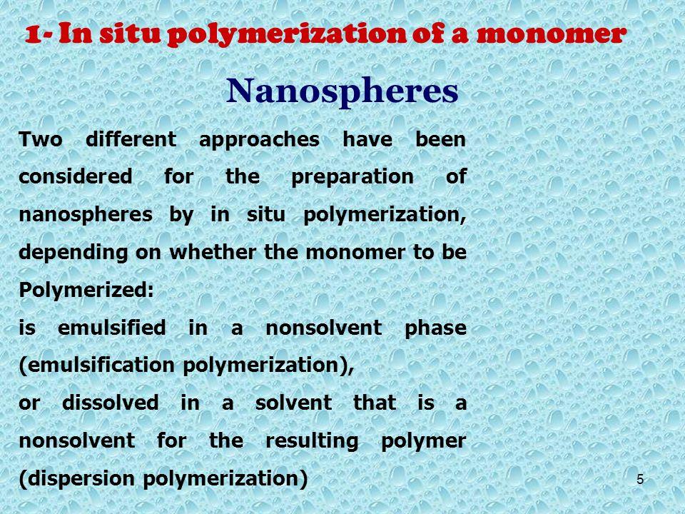 Nanospheres 1- In situ polymerization of a monomer