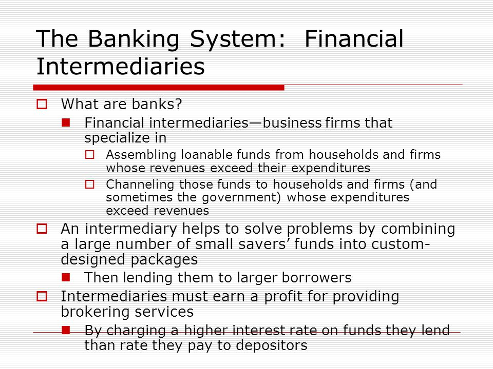 The Banking System: Financial Intermediaries