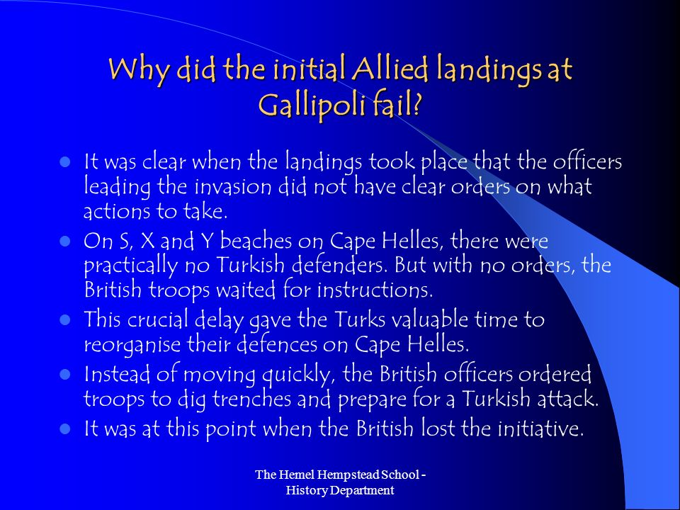 Why did the initial Allied landings at Gallipoli fail