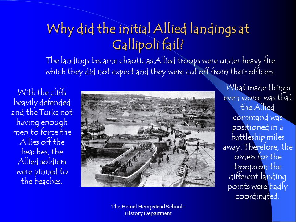 why did the gallipoli campaign fail Why did the gallipoli campaign fail brief prologue on the gallipoli campaign the campaign at gallipoli was one of the most major events.