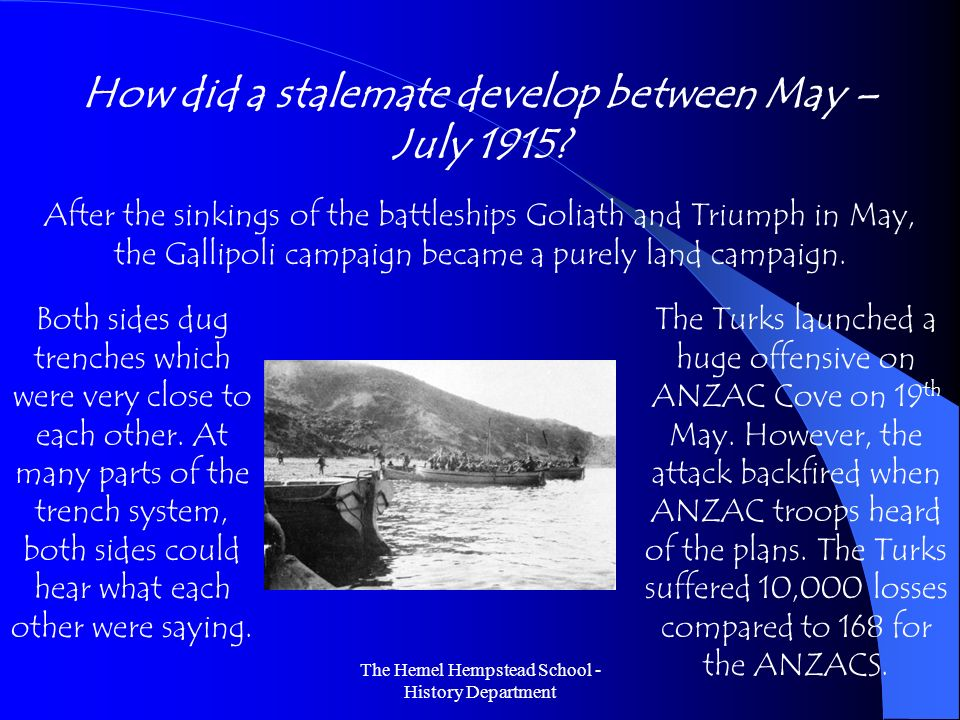 How did a stalemate develop between May – July 1915