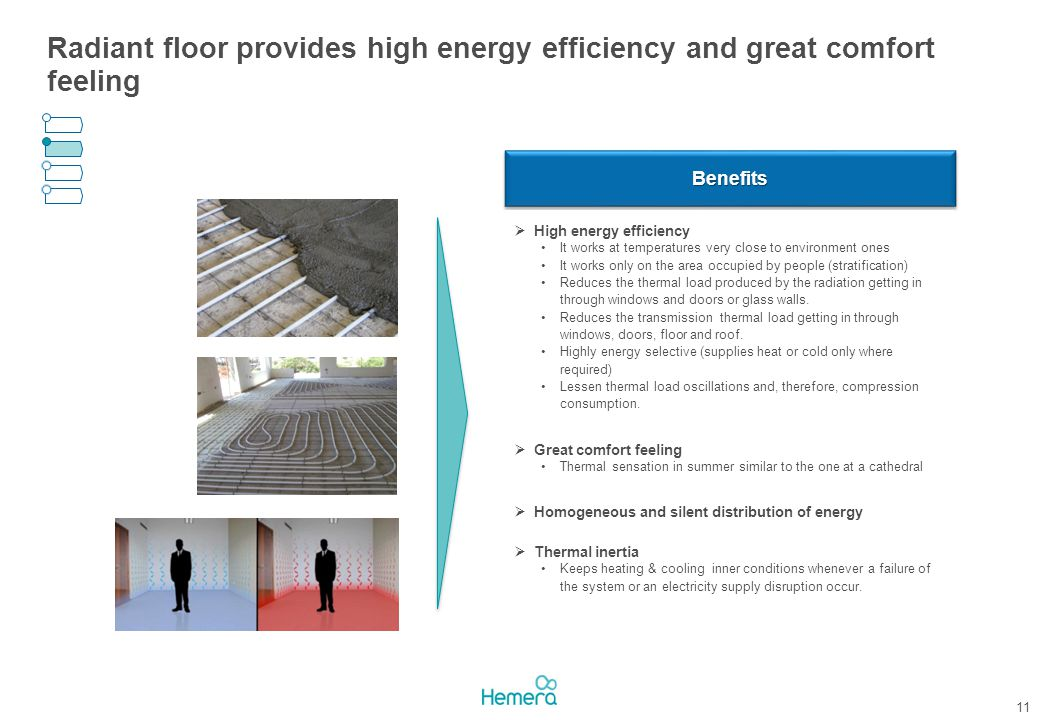 Radiant floor provides high energy efficiency and great comfort feeling