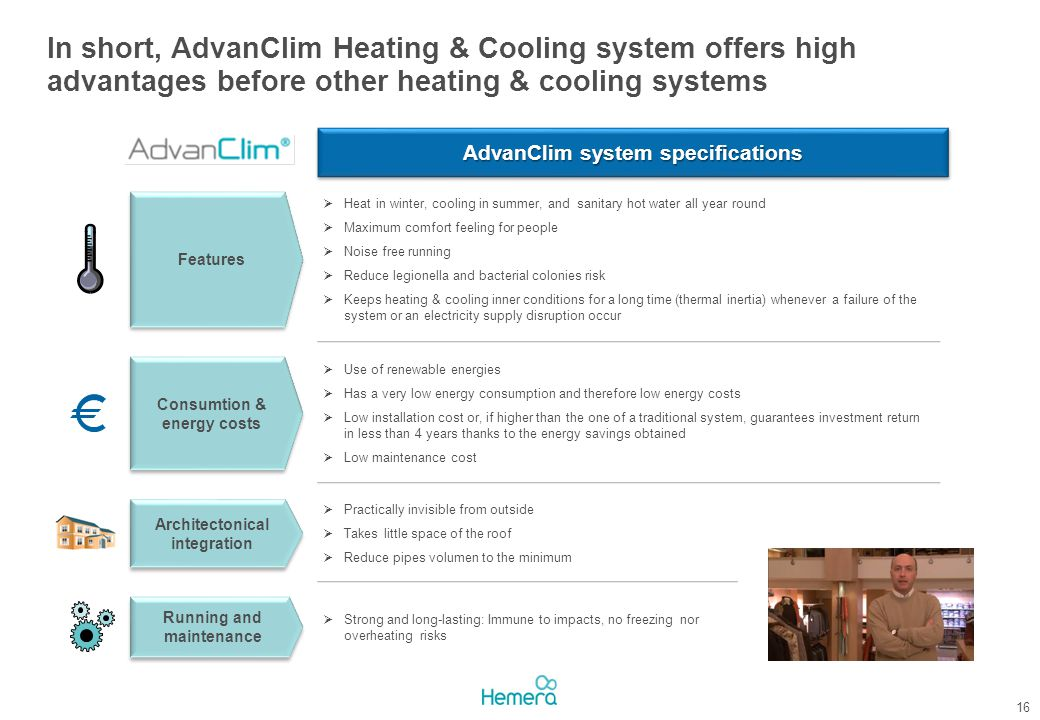 In short, AdvanClim Heating & Cooling system offers high advantages before other heating & cooling systems