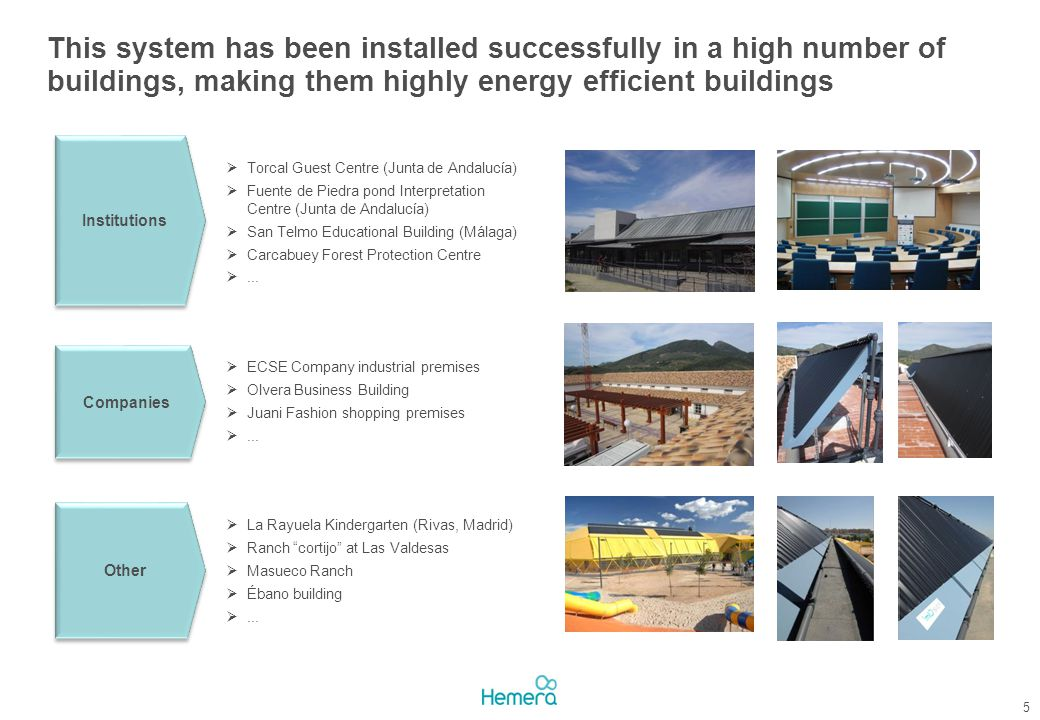 This system has been installed successfully in a high number of buildings, making them highly energy efficient buildings