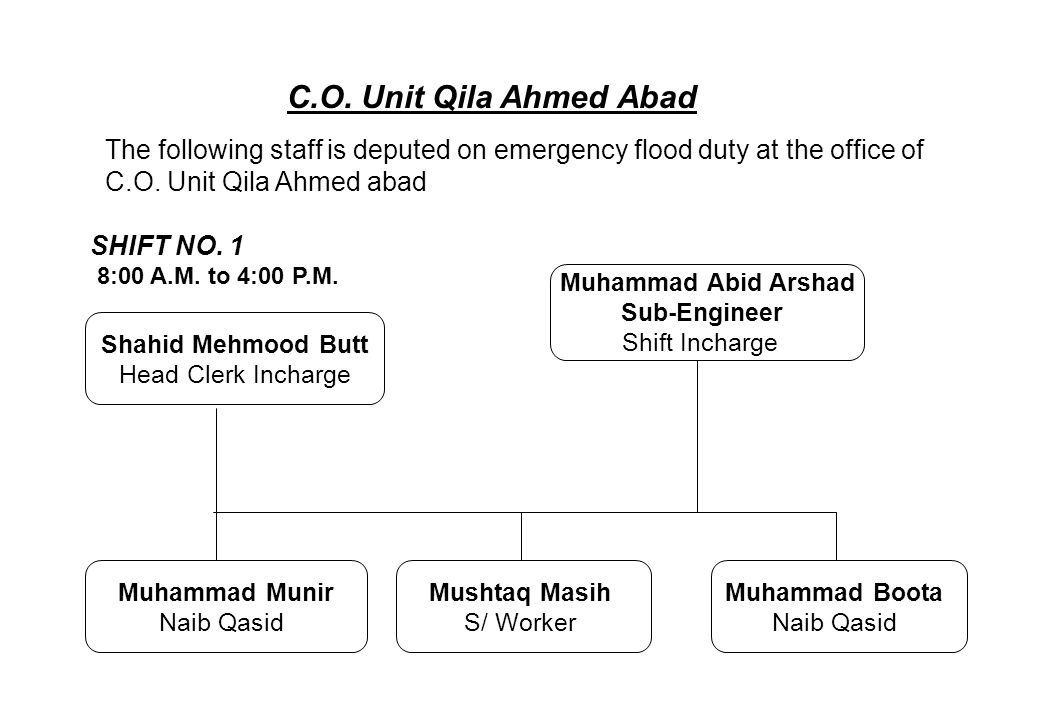 C.O. Unit Qila Ahmed Abad The following staff is deputed on emergency flood duty at the office of. C.O. Unit Qila Ahmed abad.