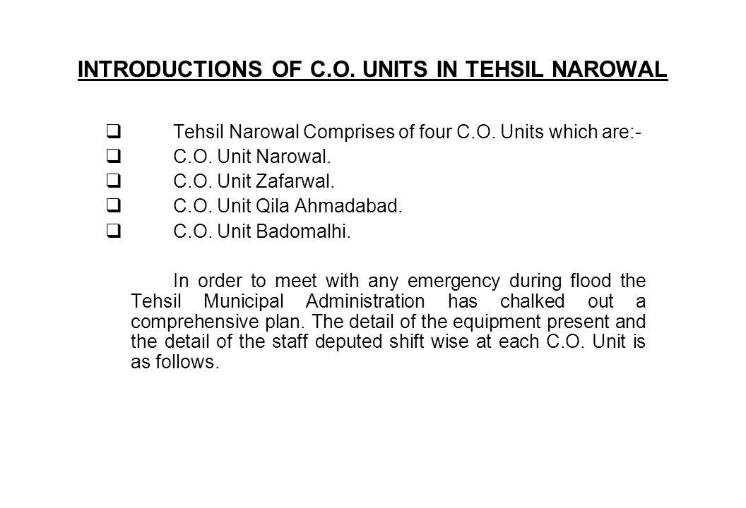 INTRODUCTIONS OF C.O. UNITS IN TEHSIL NAROWAL