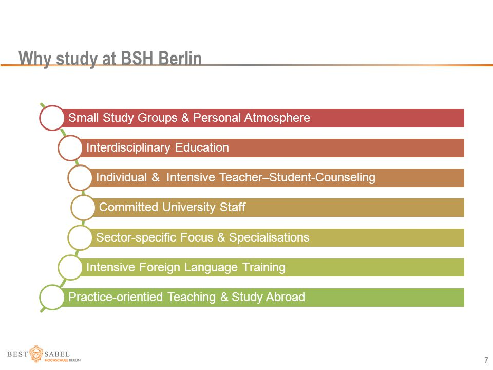 Why study at BSH Berlin Small Study Groups & Personal Atmosphere