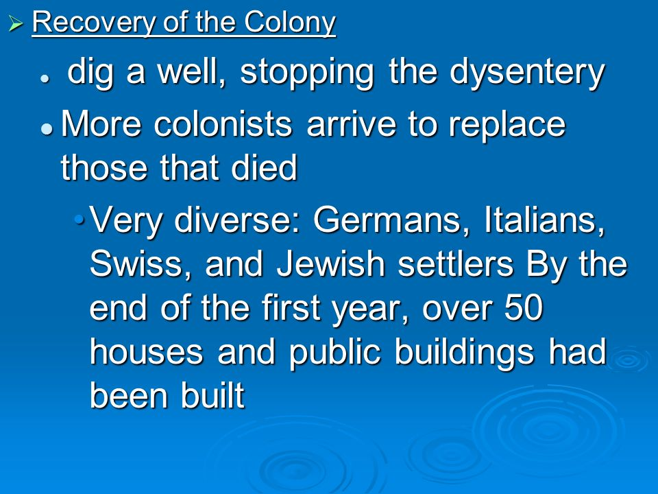 More colonists arrive to replace those that died