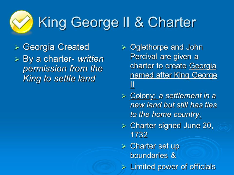 King George II & Charter