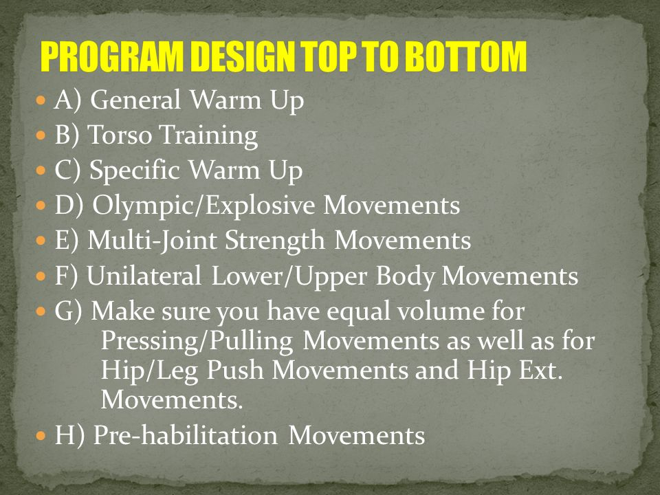 PROGRAM DESIGN TOP TO BOTTOM
