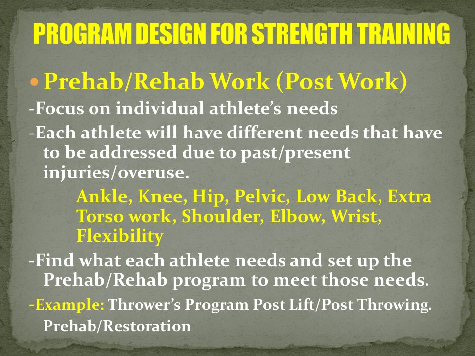 PROGRAM DESIGN FOR STRENGTH TRAINING