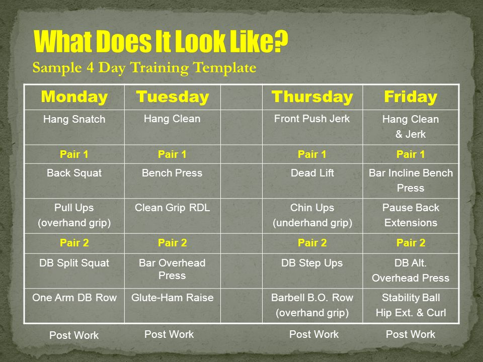 What Does It Look Like Sample 4 Day Training Template Monday Tuesday
