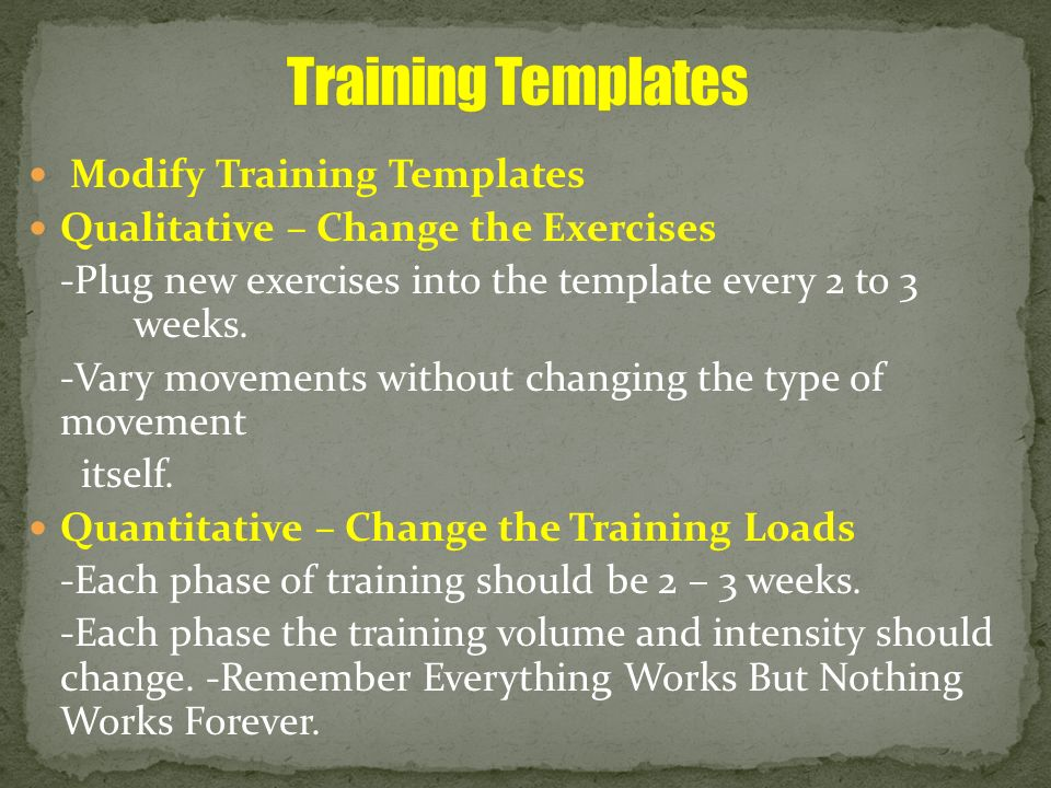 Training Templates Modify Training Templates