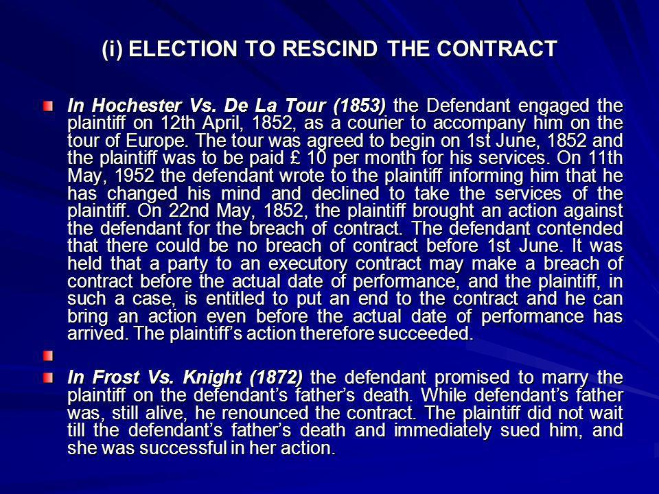 (i) ELECTION TO RESCIND THE CONTRACT