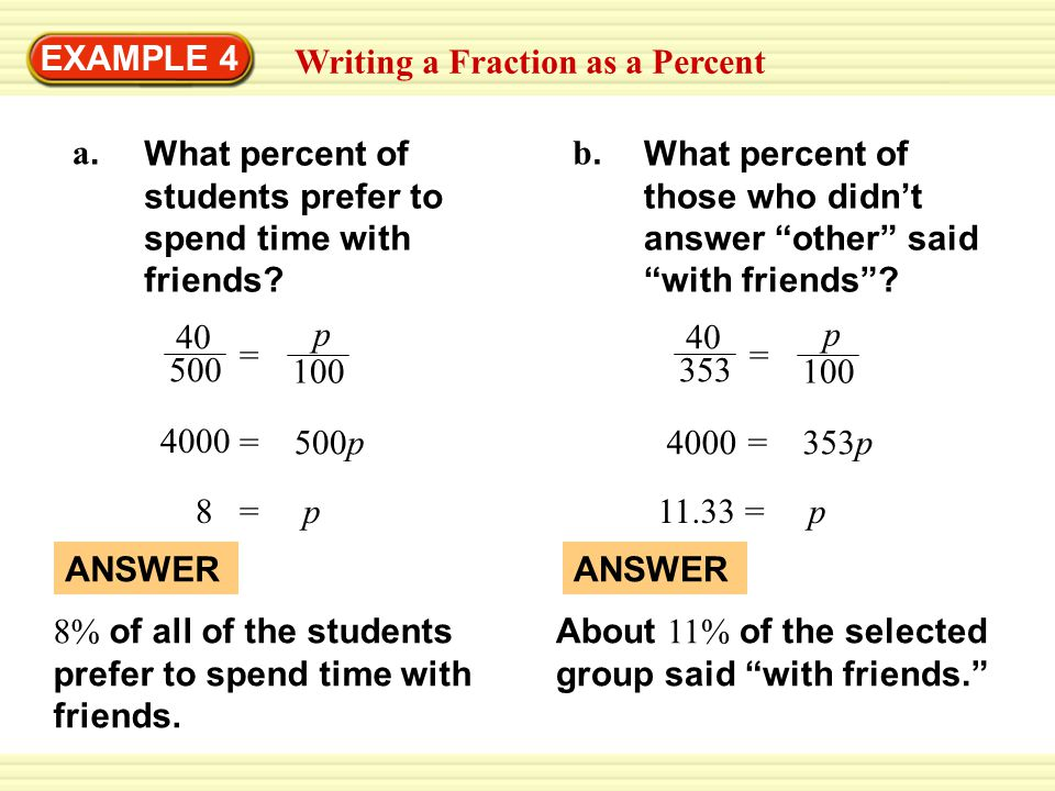 EXAMPLE 4 Writing a Fraction as a Percent. What percent of students prefer to spend time with friends