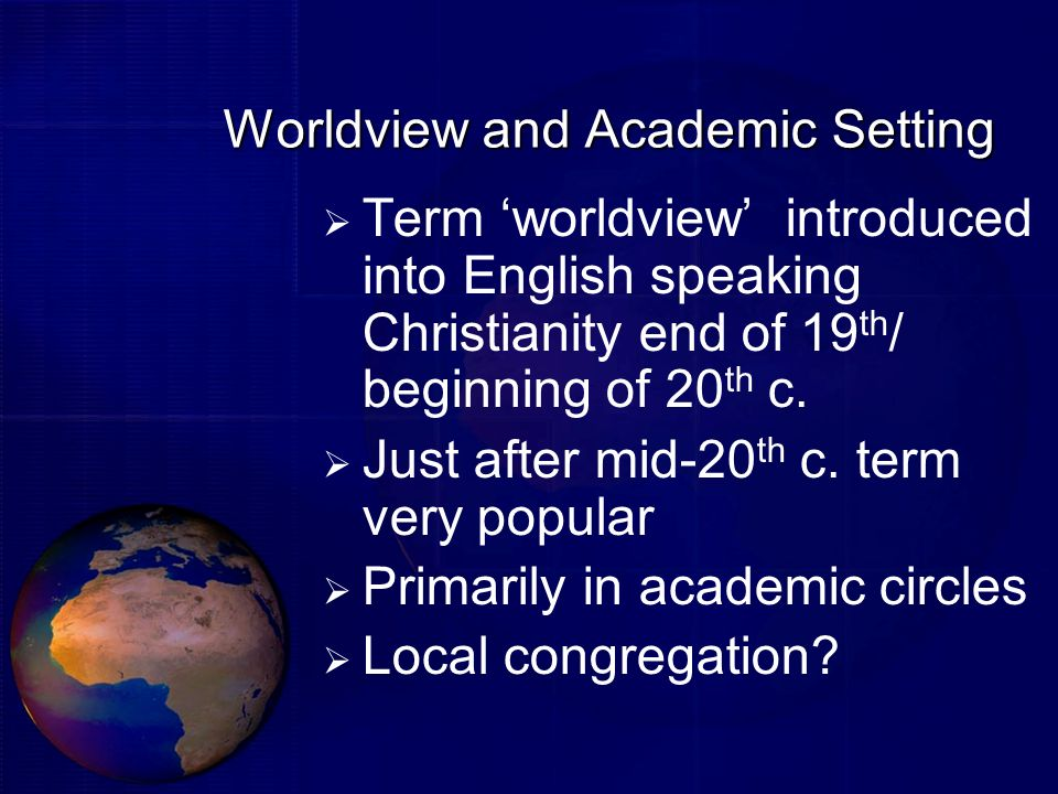 Worldview and Academic Setting