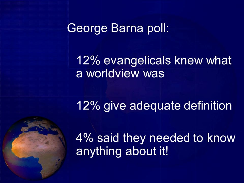 George Barna poll:12% evangelicals knew what a worldview was.