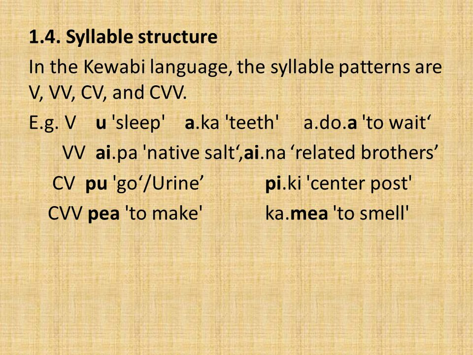 1.4. Syllable structure In the Kewabi language, the syllable patterns are V, VV, CV, and CVV.