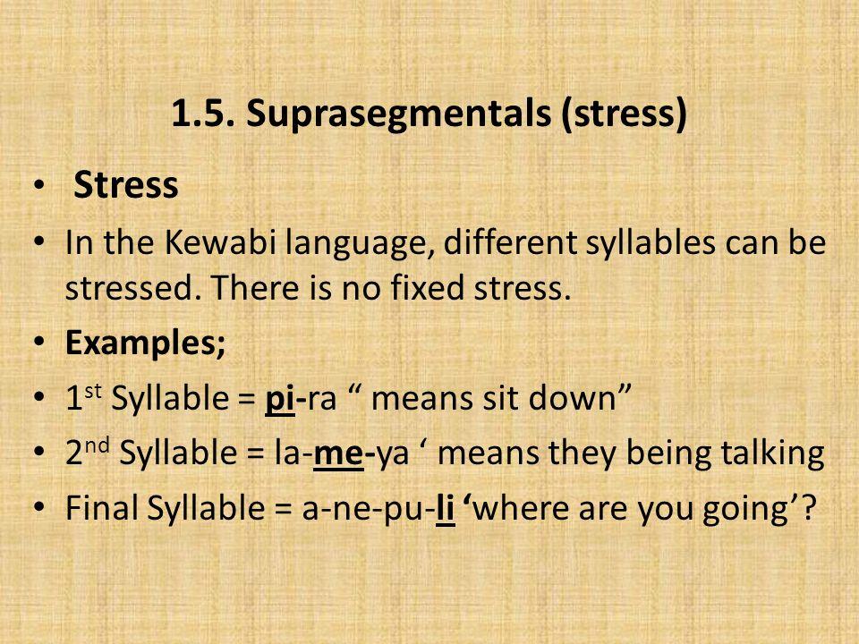 1.5. Suprasegmentals (stress)