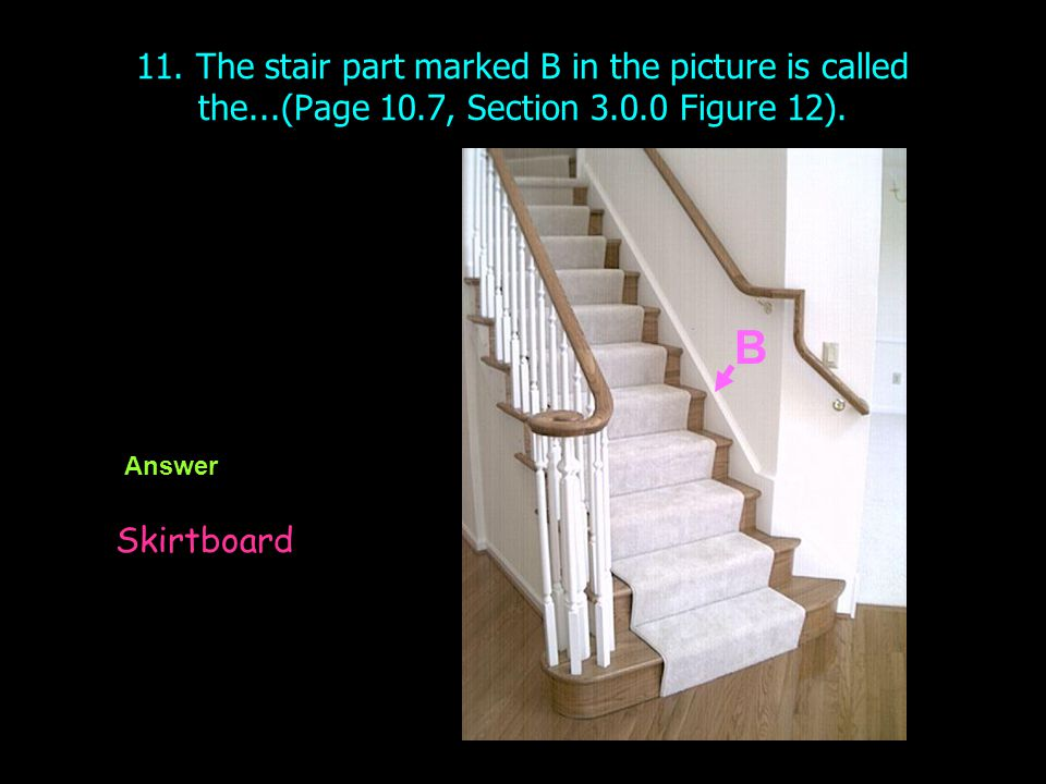 11. The stair part marked B in the picture is called the. (Page 10