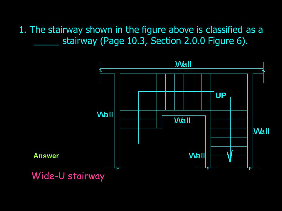 1. The stairway shown in the figure above is classified as a _____ stairway (Page 10.3, Section 2.0.0 Figure 6).