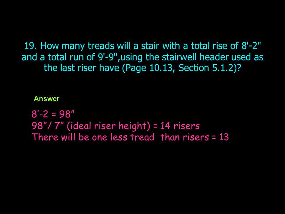98 / 7 (ideal riser height) = 14 risers