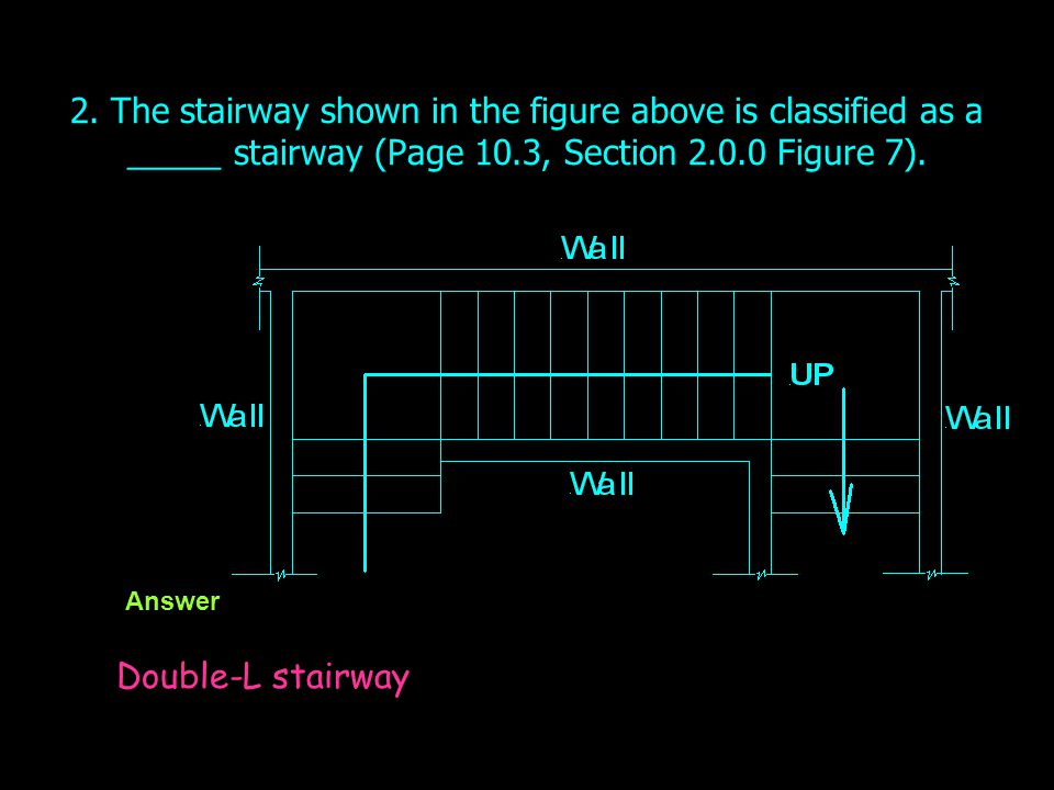 2. The stairway shown in the figure above is classified as a _____ stairway (Page 10.3, Section 2.0.0 Figure 7).