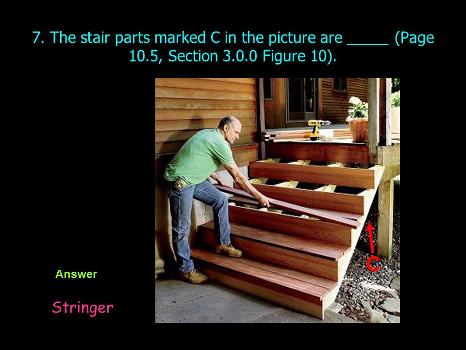 7. The stair parts marked C in the picture are _____ (Page 10