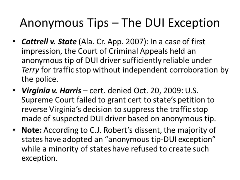 Anonymous Tips – The DUI Exception