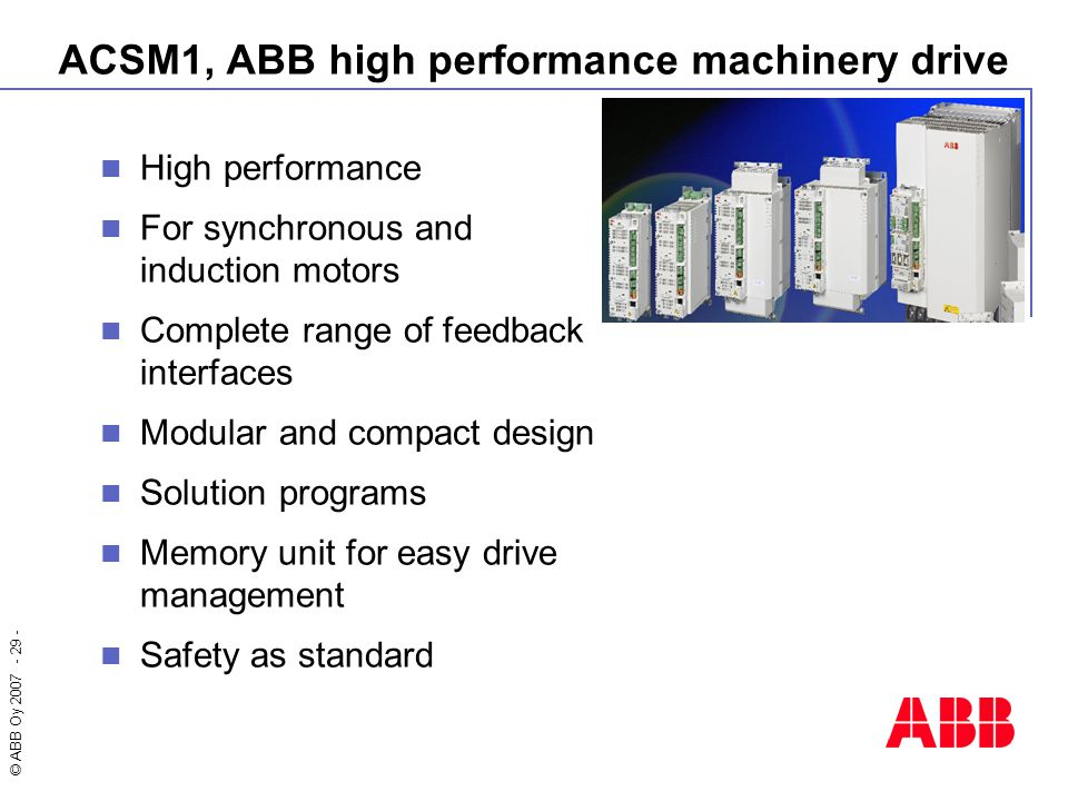 ACSM1, ABB high performance machinery drive