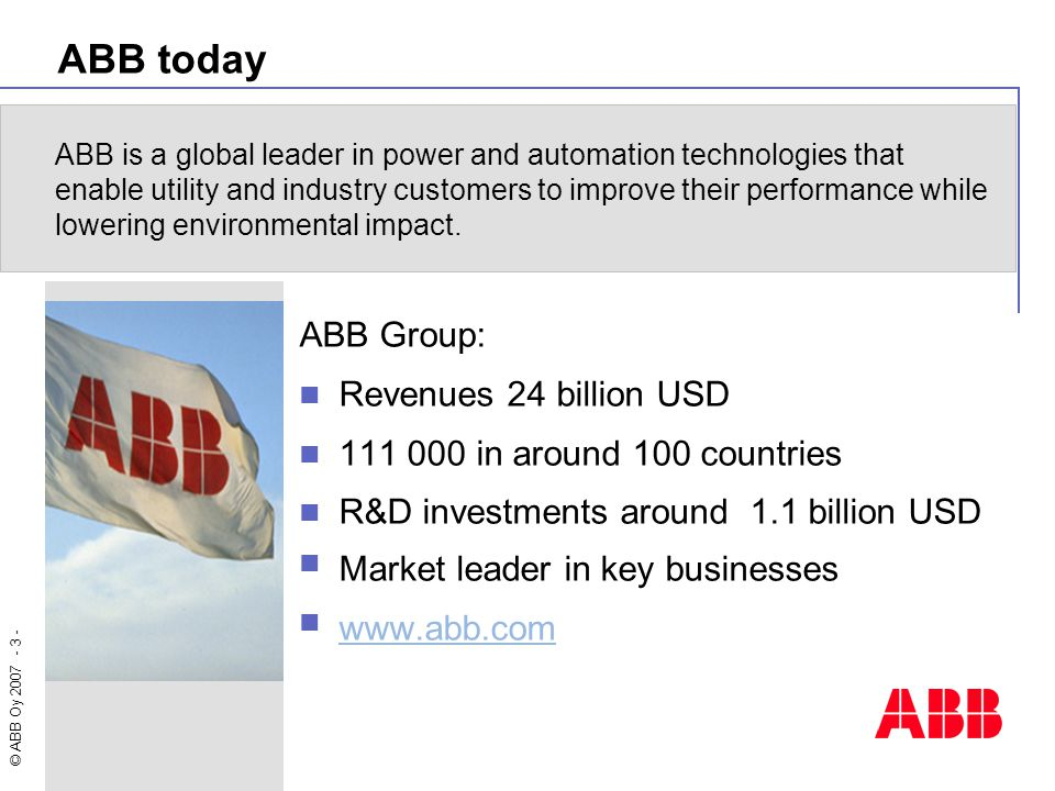 ABB today ABB Group: Revenues 24 billion USD
