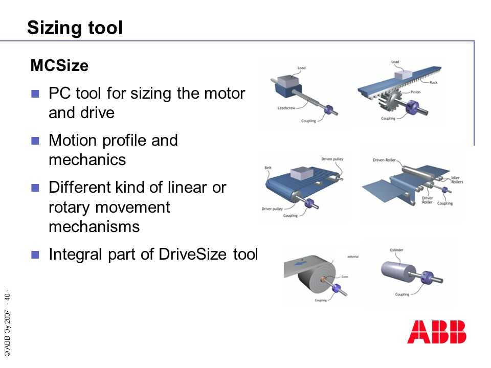 Sizing tool MCSize PC tool for sizing the motor and drive
