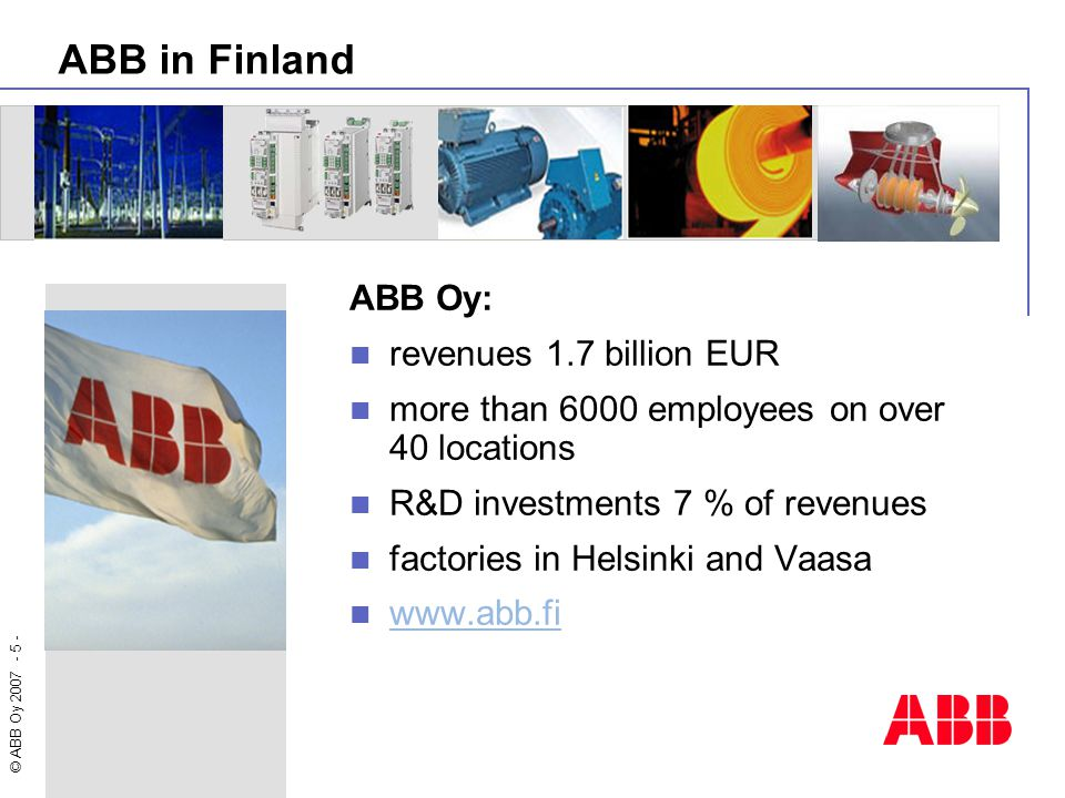 ABB in Finland ABB Oy: revenues 1.7 billion EUR