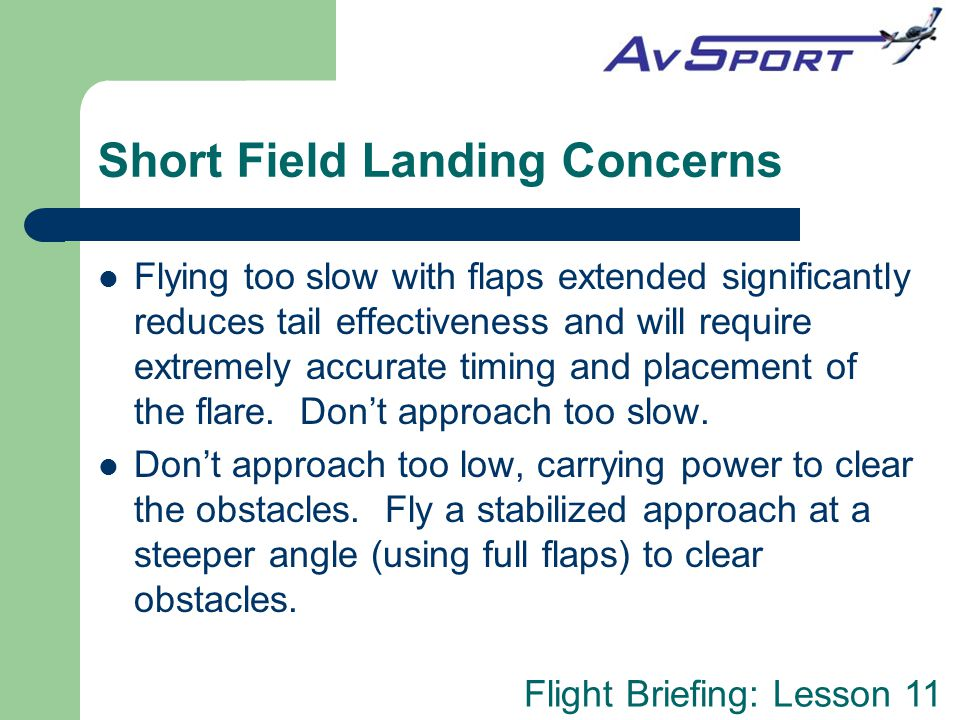 Short Field Landing Concerns