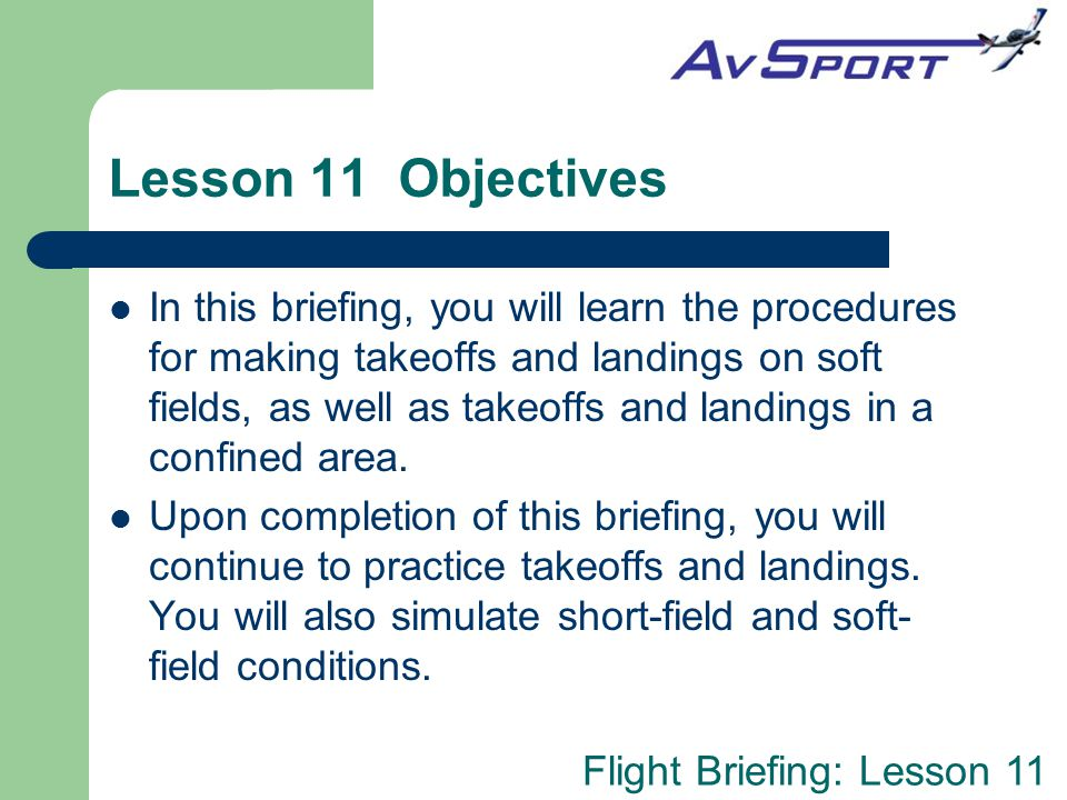 Lesson 11 Objectives