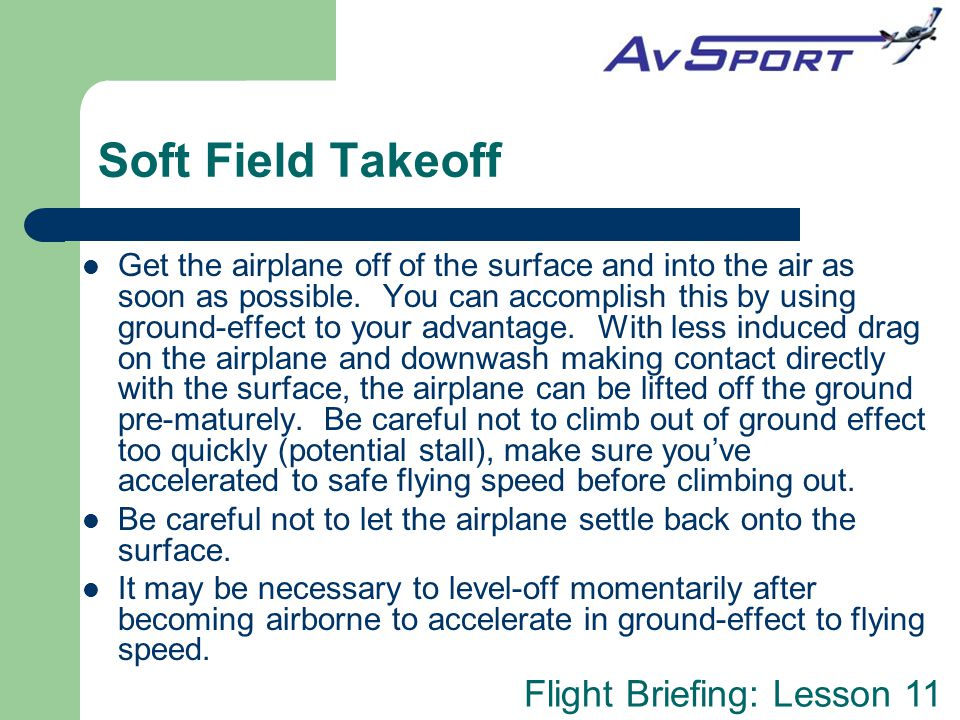 Soft Field Takeoff