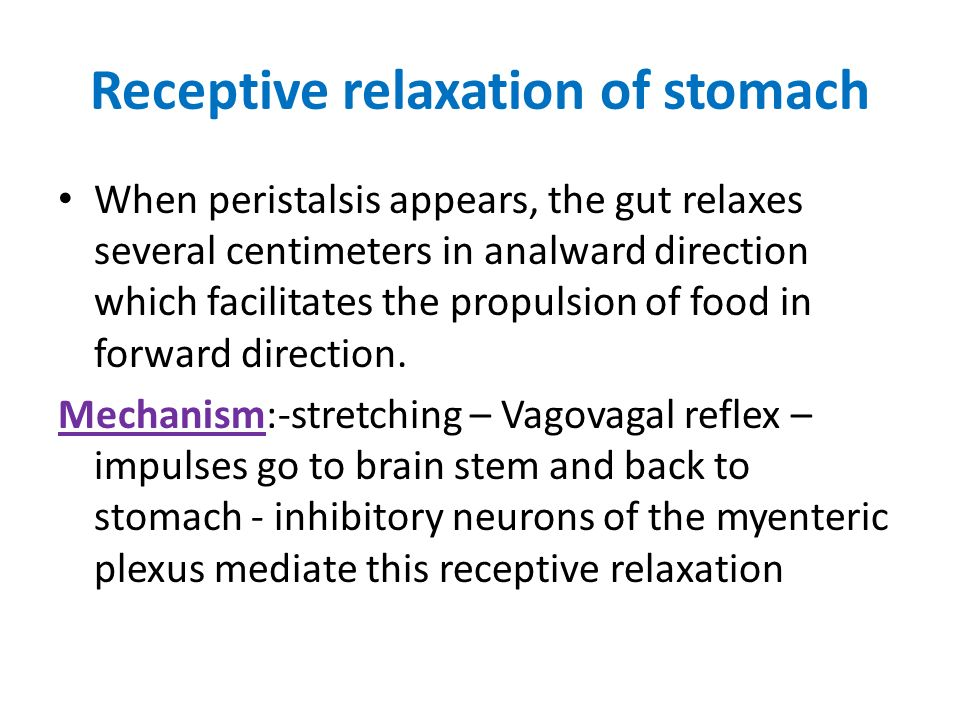 Receptive relaxation of stomach