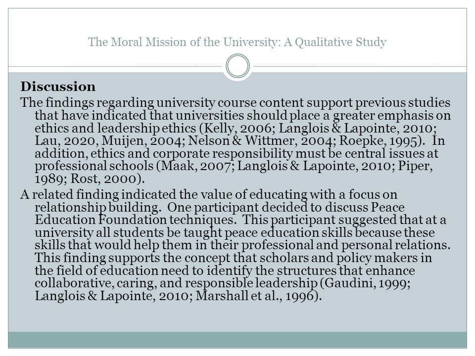 The Moral Mission of the University: A Qualitative Study