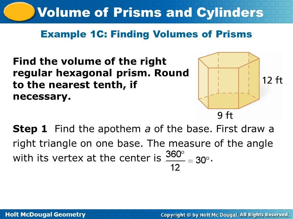 Example 1C: Finding Volumes of Prisms