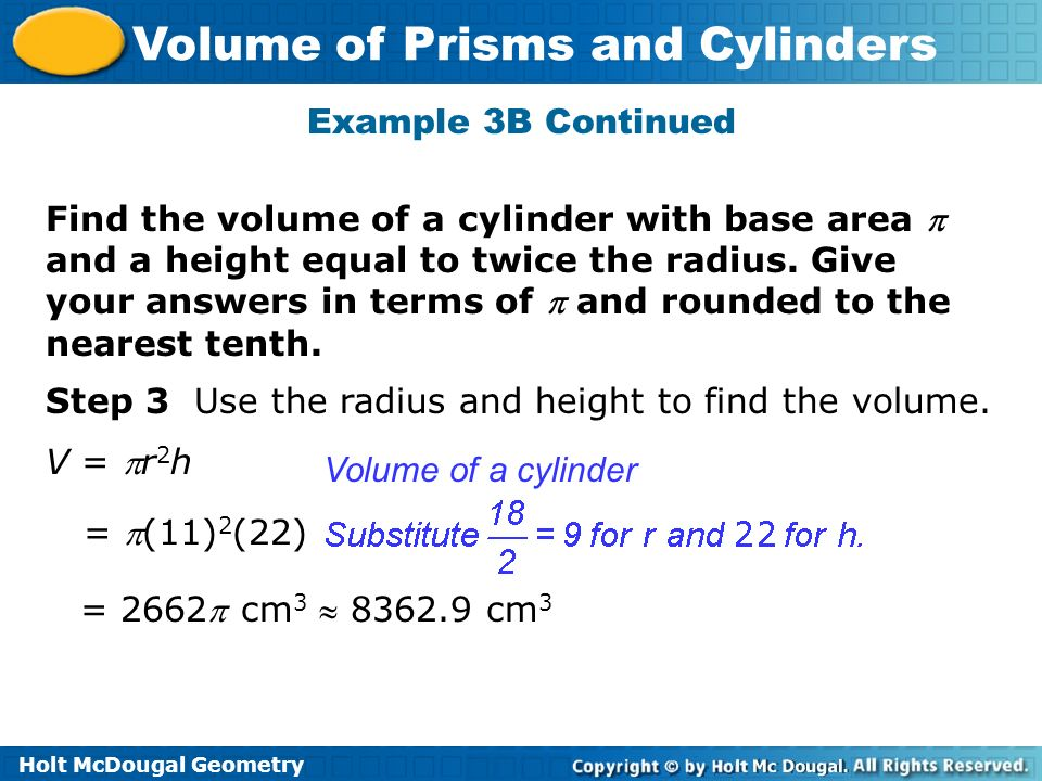how to work out radius from volume and height