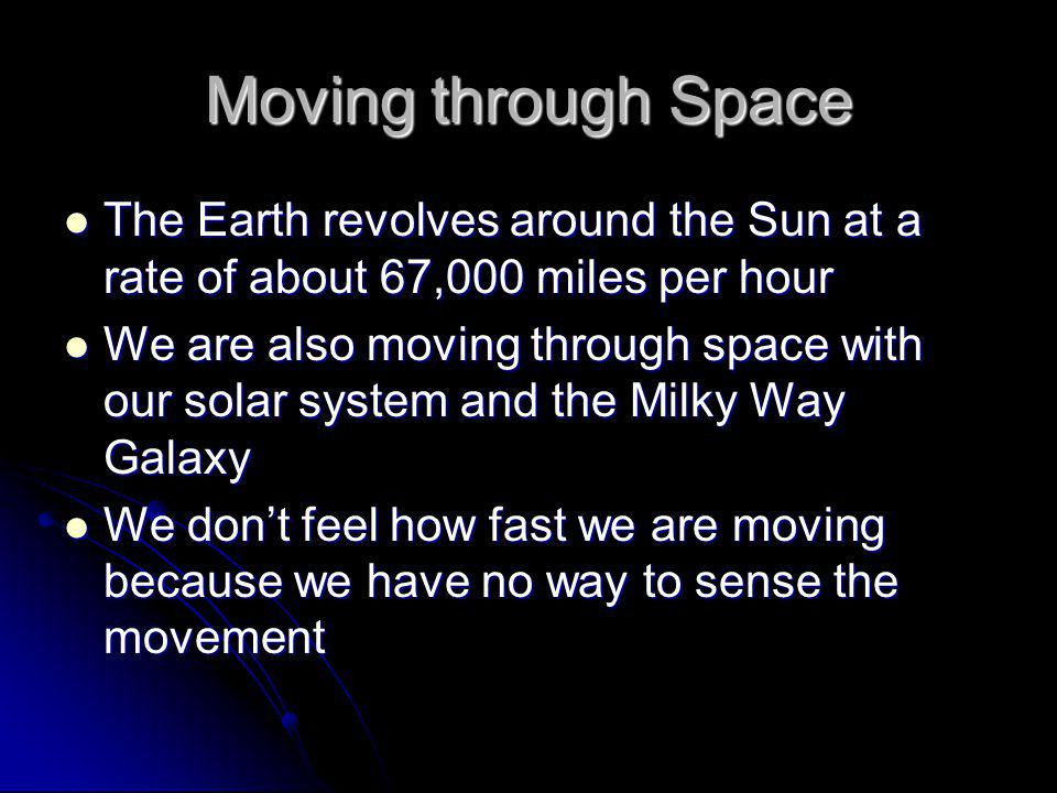 Moving through Space The Earth revolves around the Sun at a rate of about 67,000 miles per hour.