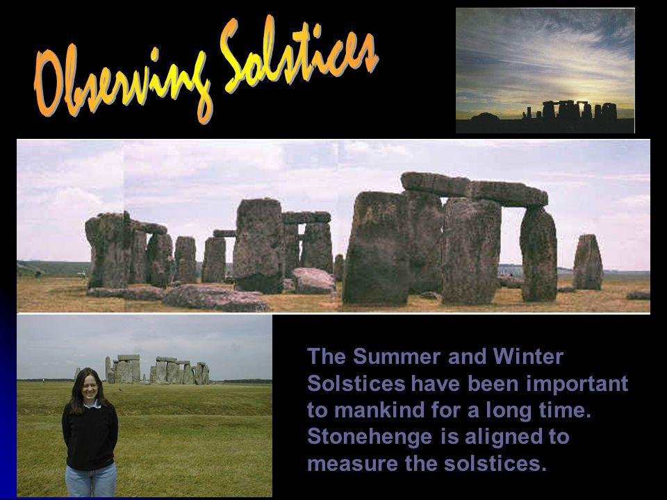Observing Solstices The Summer and Winter Solstices have been important to mankind for a long time.