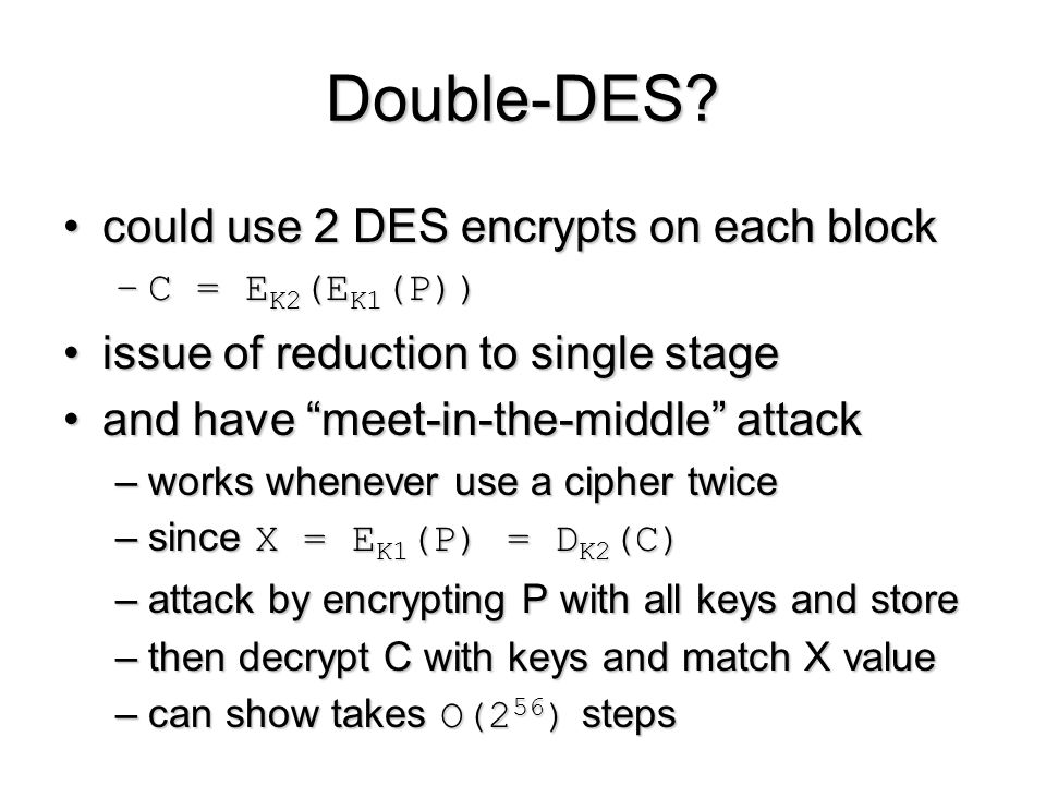 Double-DES could use 2 DES encrypts on each block