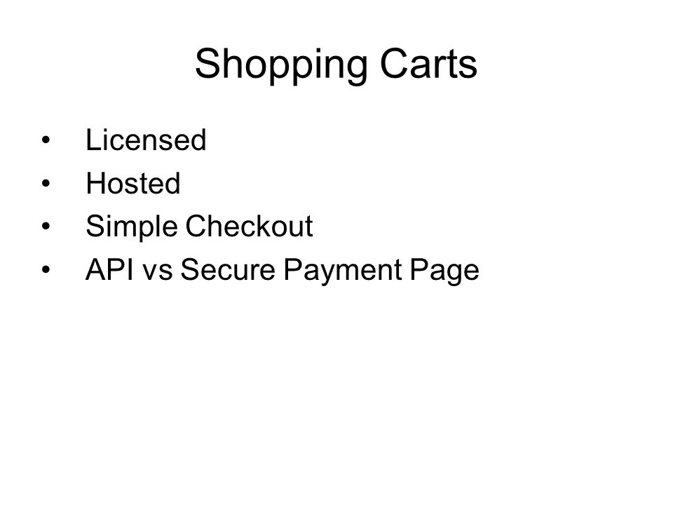 Shopping Carts Licensed Hosted Simple Checkout